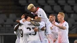 Milan celebrate Theo Hernandez's opening goal