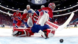 Carey Price is unable to prevent the puck crossing the line in Game 3.