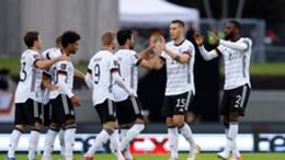 Germany's players celebrate Antonio Rudiger's goal