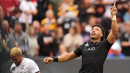 Richie Mo'unga after scoring in New Zealand's thrashing of the USA