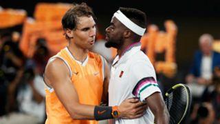 Frances Tiafoe, right, and Rafael Nadal