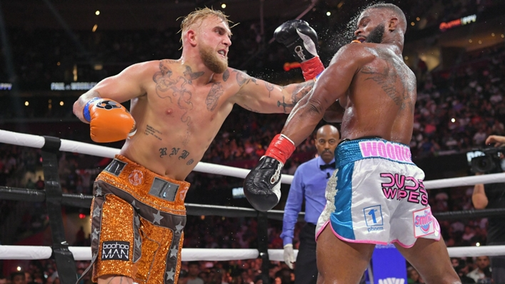 Jake Paul in action against Tyron Woodley