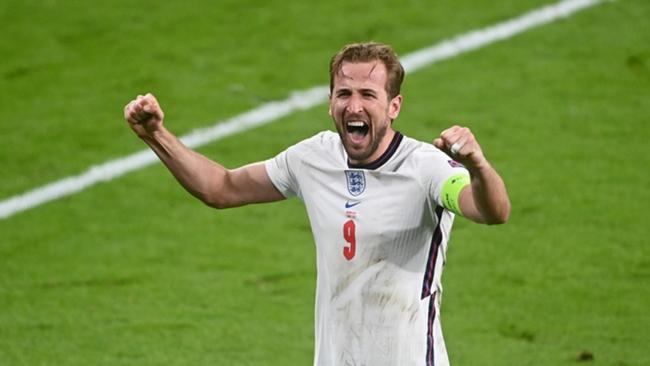 Harry Kane celebrates England's win against Denmark