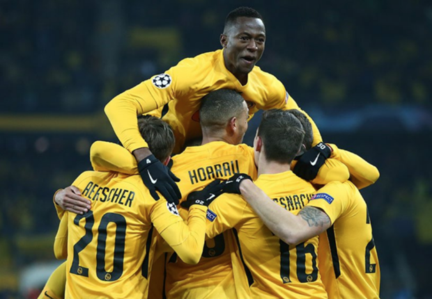 Young Boys celebrate their opener against Juventus