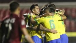 Roberto Firmino and Brazil celebrate