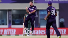 Chris Greaves celebrates a wicket in Scotland's win over Bangladesh