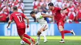Eden Hazard in action against Denmark