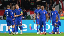 England celebrate Raheem Sterling's strike