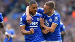 Youri Tielemans (L) and Jamie Vardy both scored against Manchester United
