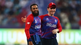 Eoin Morgan (right) and Adil Rashid are all smiles in England's hammering on West Indies