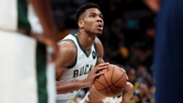 Giannis Antetokounmpo #34 of the Milwaukee Bucks attempts a free throw in the third quarter against the Indiana Pacers