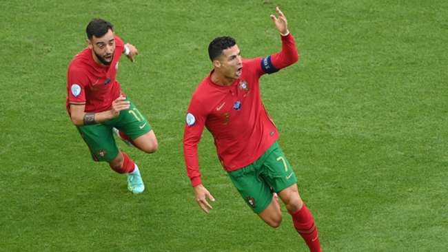 Portugal's Cristiano Ronaldo celebrates against Germany