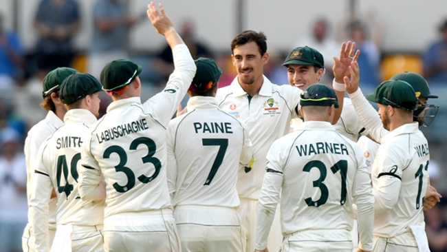 Mitchell Starc and Australia celebrate against Pakistan