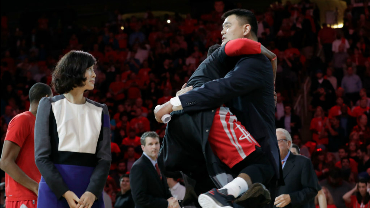 new product af62a 76e98 yao ming jersey retirement