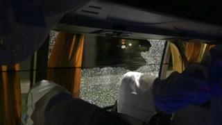 #aussie tour bus window smashed