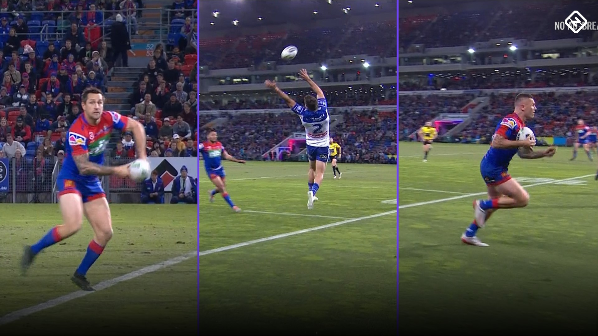 Knights v Bulldogs: Mitchell Pearce cut-out pass sees Shaun Kenny-Dowall open scoring