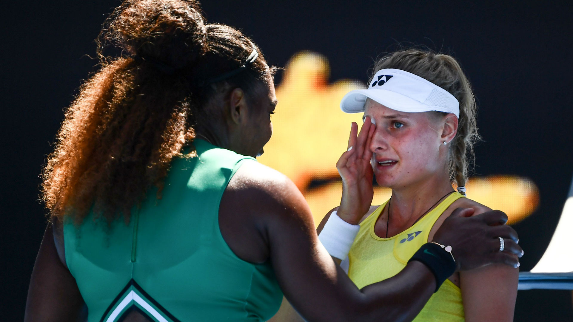 australian open serena williams consoles devastated