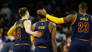 Kyrie Irving, Matthew Dellavedova and LeBron James