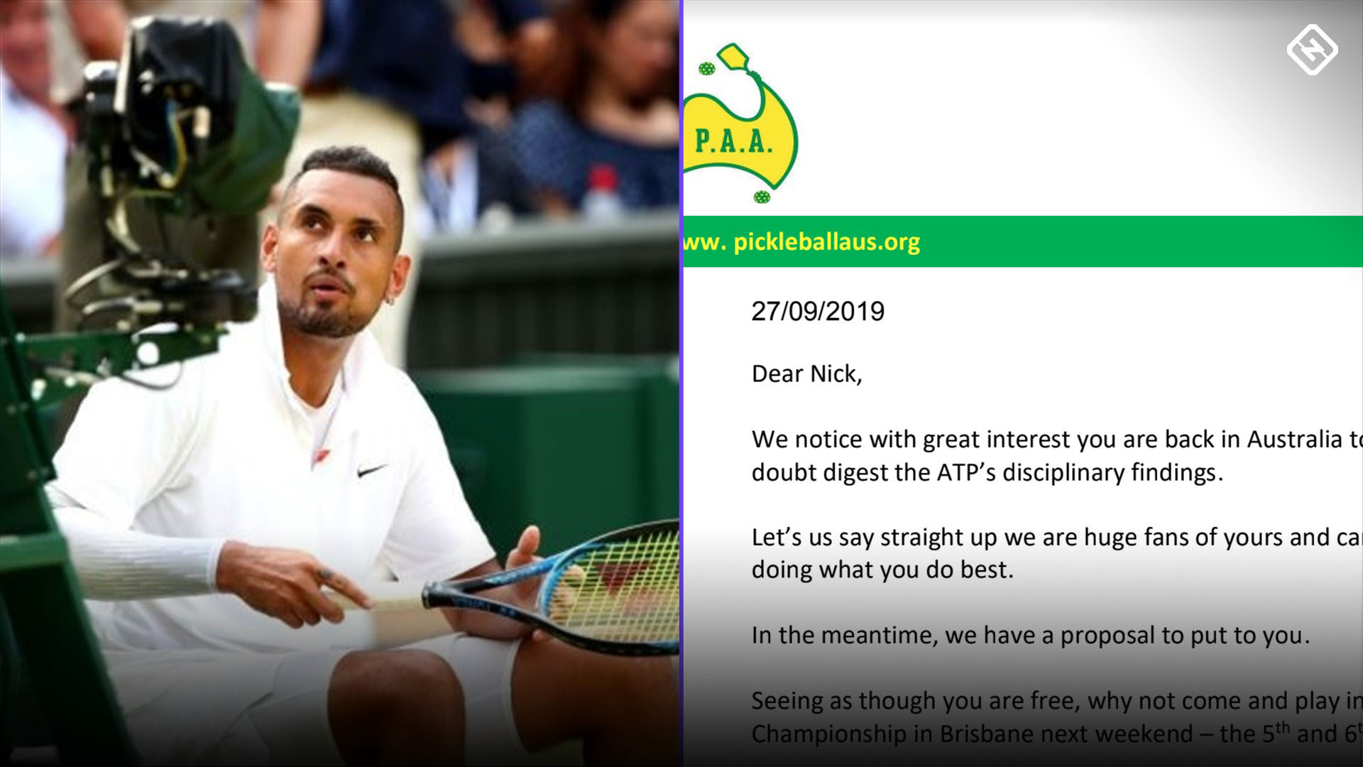 Nick Kyrgios in a new Pickle after invitation from start-up sport