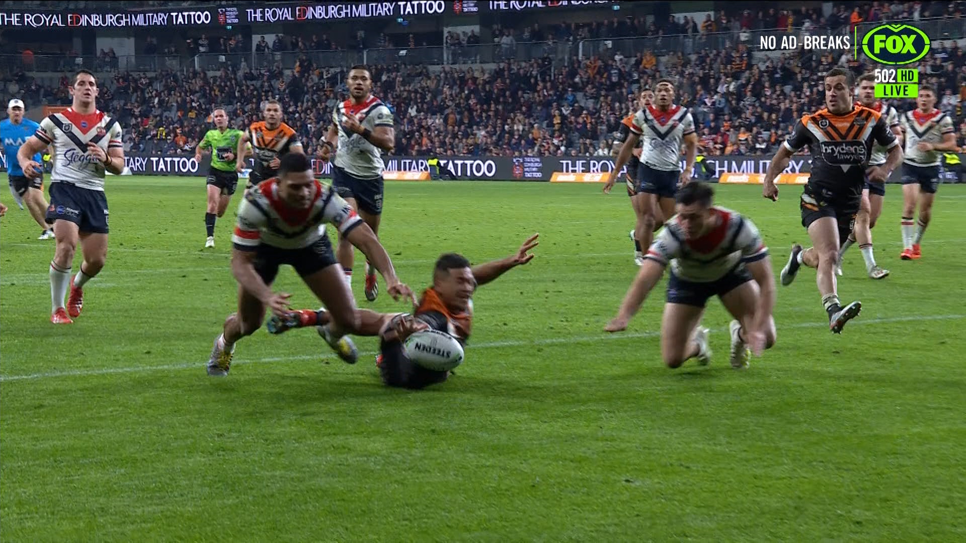 Tigers v Roosters: Esan Marsters awarded try after possible knock on