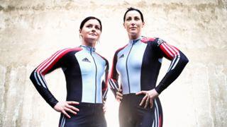 Astrid Radjenovic and Jana Pittman pose during a Australian Women's Bobsleigh Team Portrait Session. Mar 2 2013