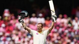 Chris Rogers of Australia celebrates scoring a century