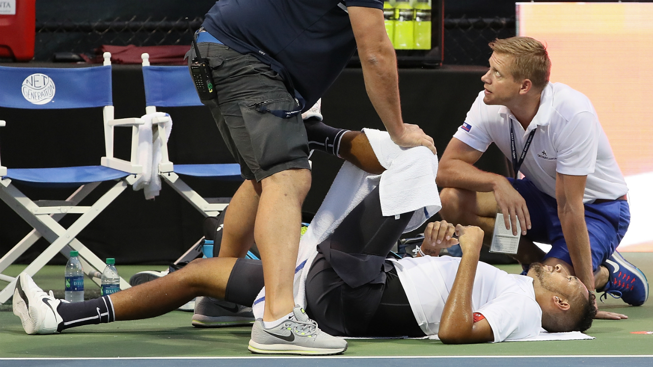 Nick Kyrgios booed off the court after retiring hurt at Atlanta Open