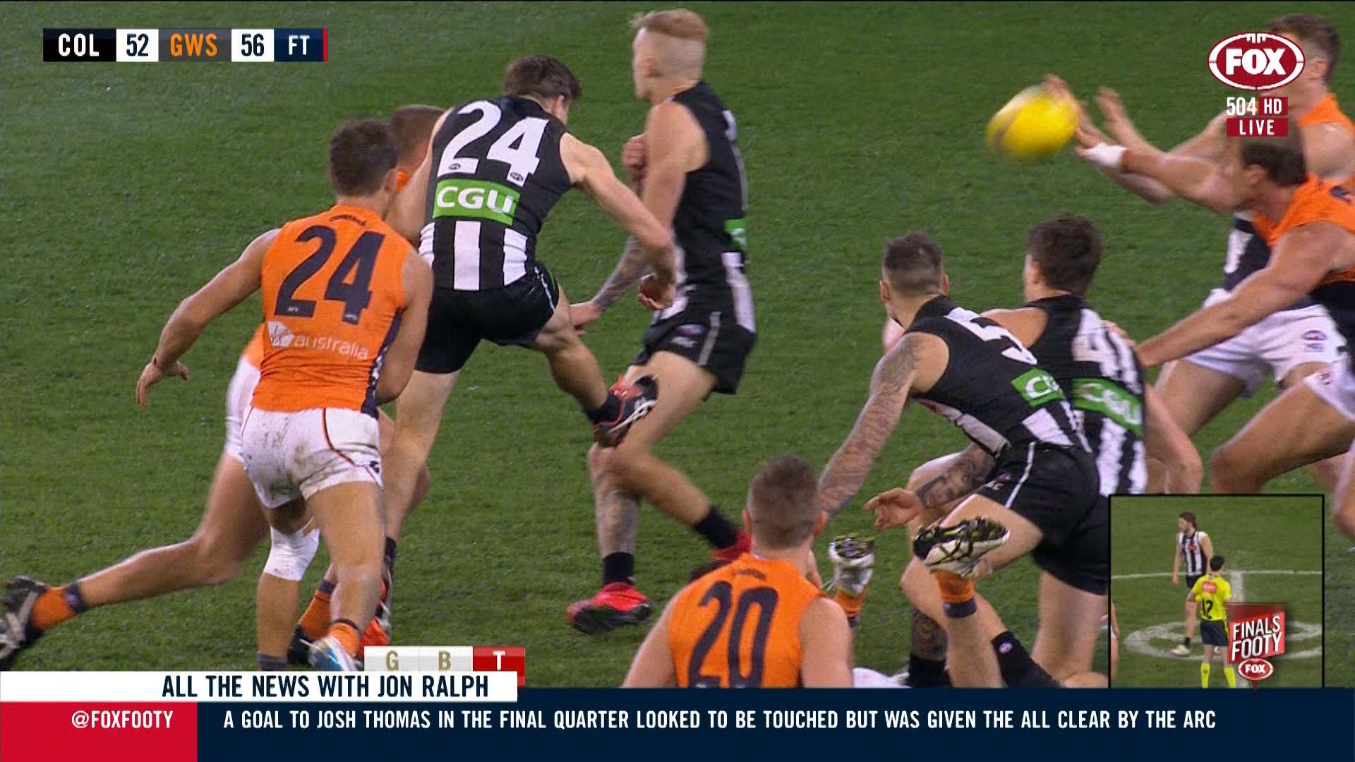 Collingwood v GWS: AFL defends decision to award Josh Thomas goal
