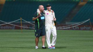 Darren Lehmann, coach of Australia, and Michael Clarke of Australia