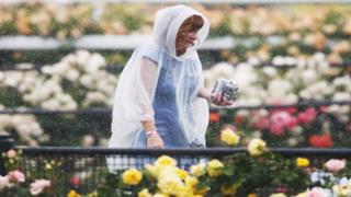 Lady in poncho