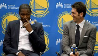 Kevin Durant and Bob Myers