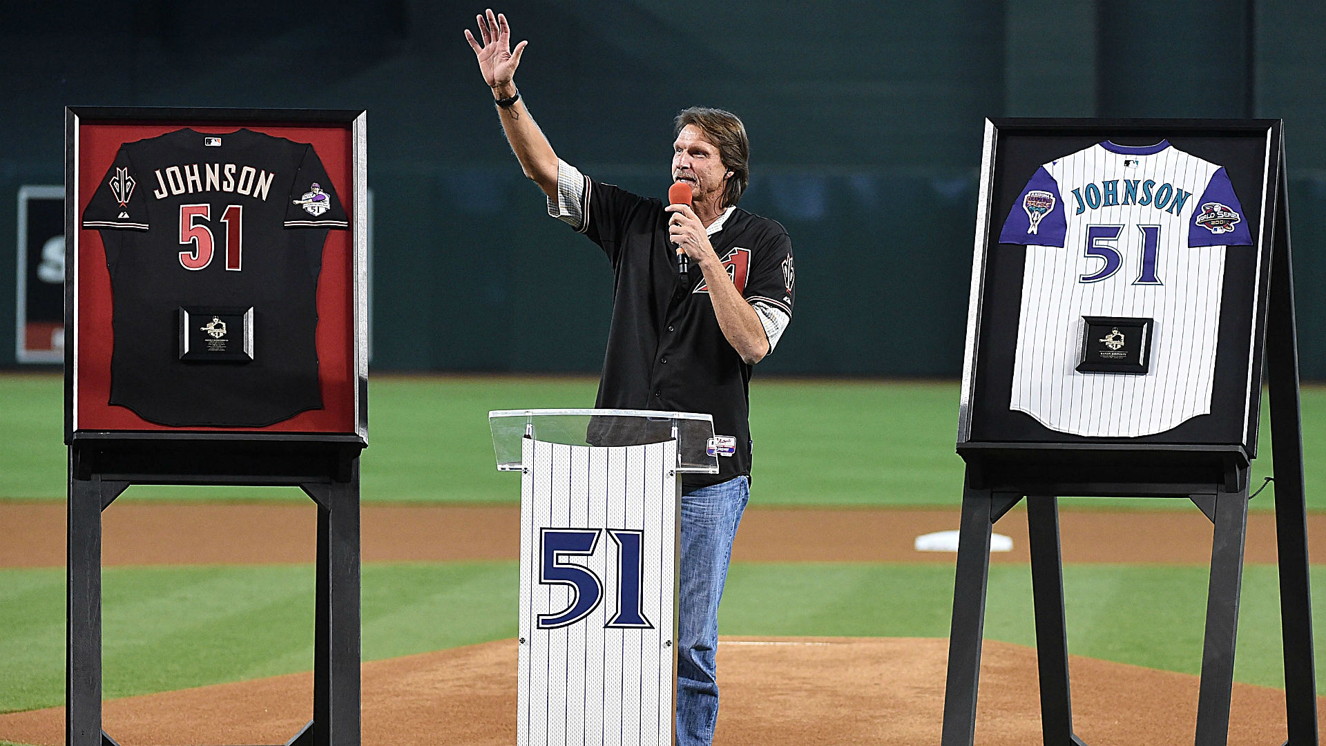 watch 124f4 52cda Randy Johnson gets number retired by Diamondbacks, rocks out ...