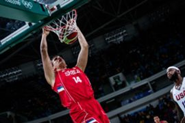 Jokic dunking Serbia FIBA