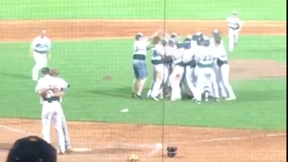 High school pitcher holds off celebrating so he can console childhood friend