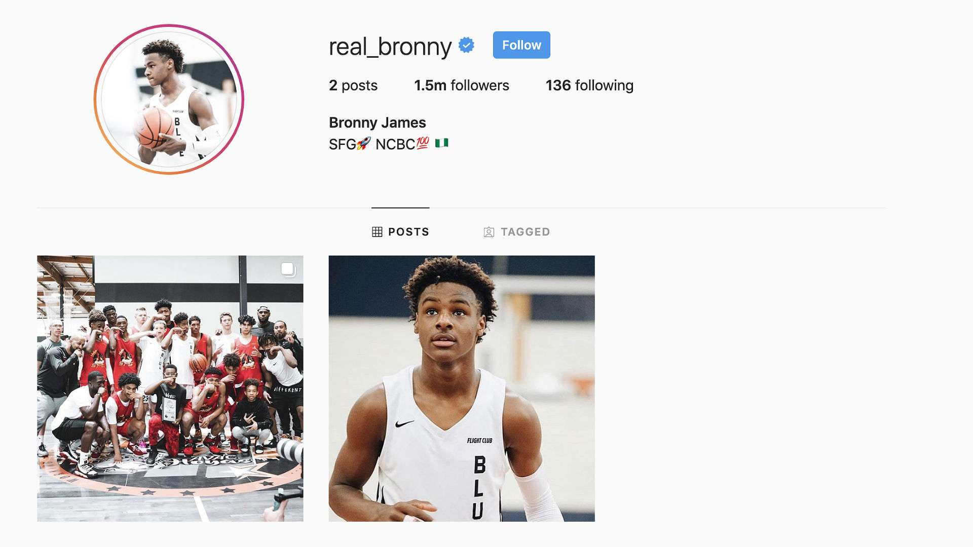 Bronny James' Instagram hits 1M followers in 24 hours