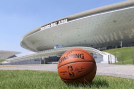 NBA Official basketball and Mercedes Benz Arena in Shanghai