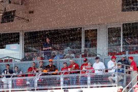 swarm of bees descended on Great American Ball Park