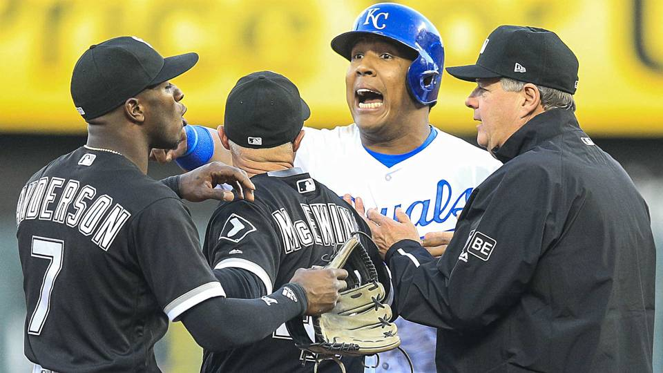 Salvador Perez turns into the fun police against Tim Anderson, because baseball