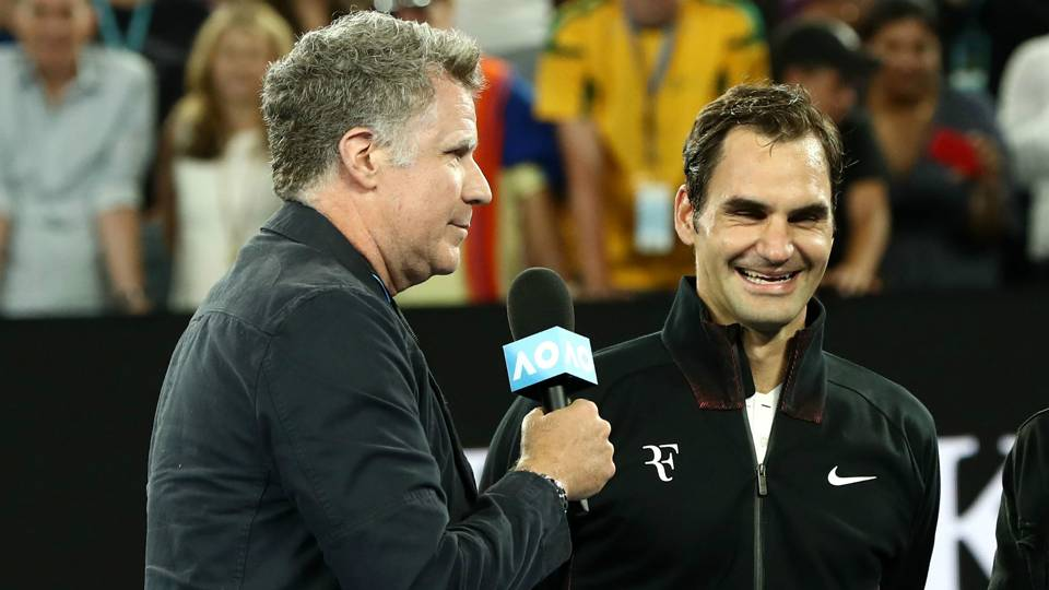 Will Ferrell hilariously interviews Roger Federer at 2018 Australian Open