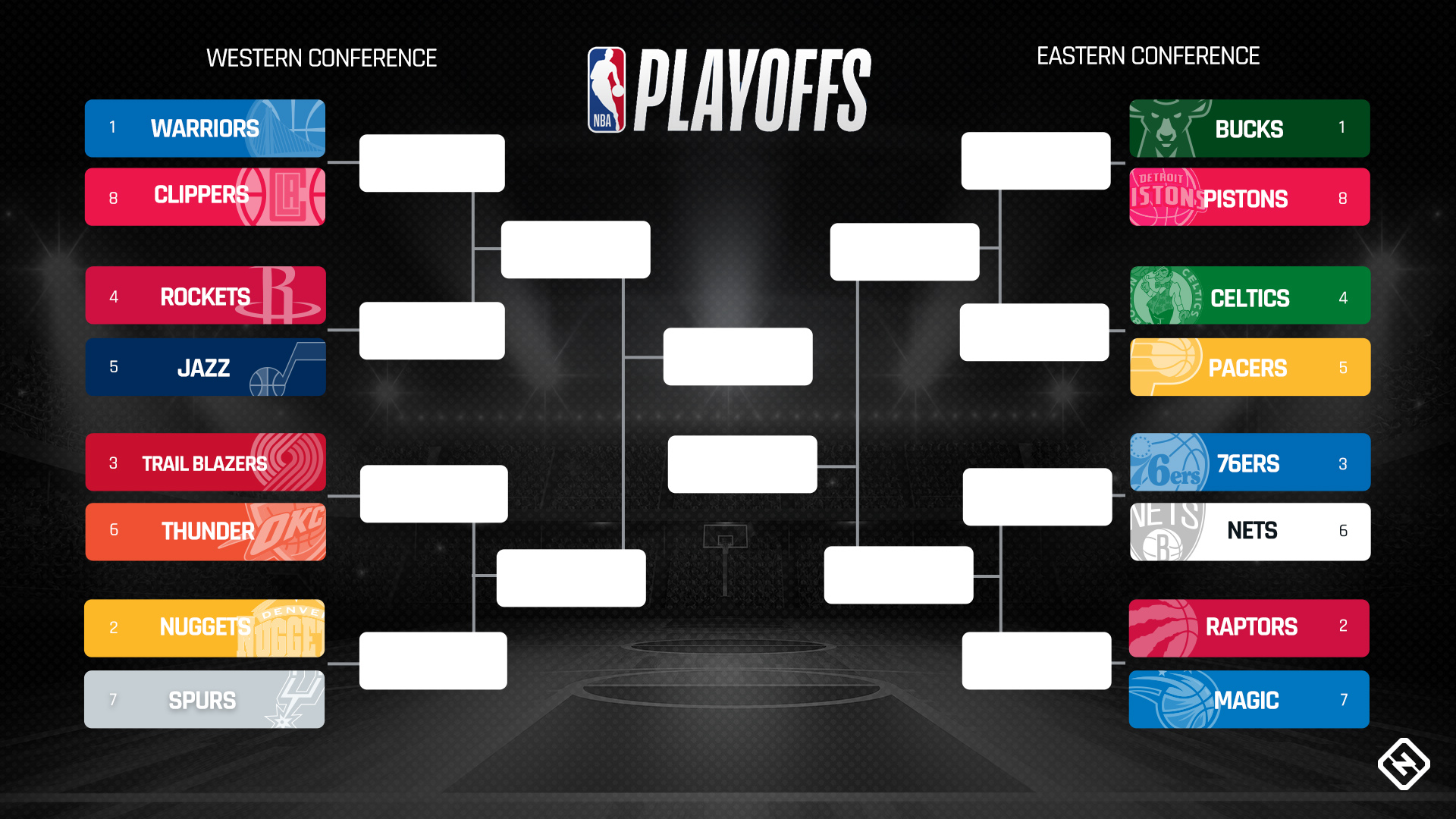 image relating to 76ers Printable Schedule called NBA playoffs bracket 2019: Jap Convention initial-spherical