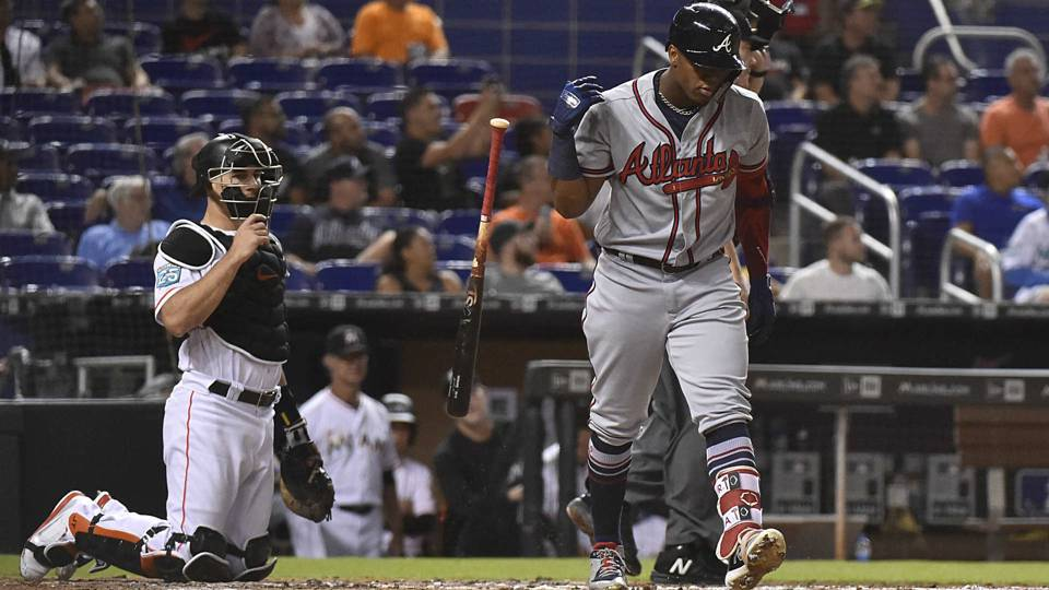 Ronald Acuna Jr. resumes HR run vs. Marlins week after HBP, then gets plunked again