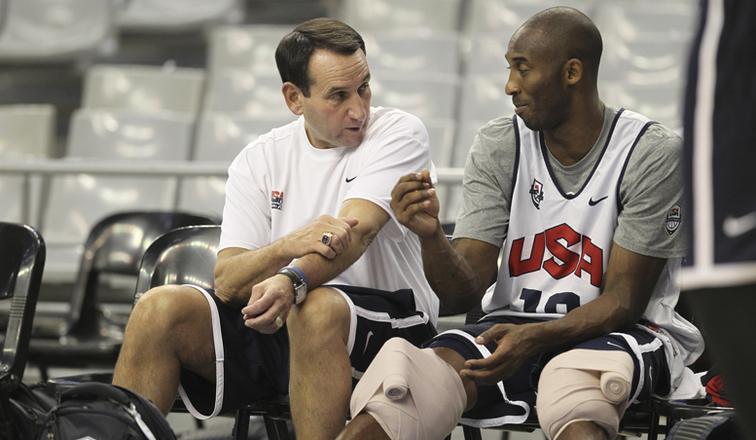 Mike Krzyzewski Kobe Bryant USA Basketball