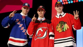 (from left to right) Kaapo Kakko, Jack Hughes and Kirby Dach