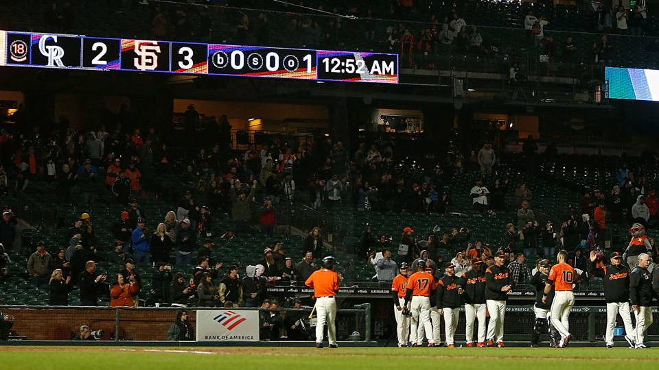 Giants make fans, seagulls happy by beating Rockies in 18 innings