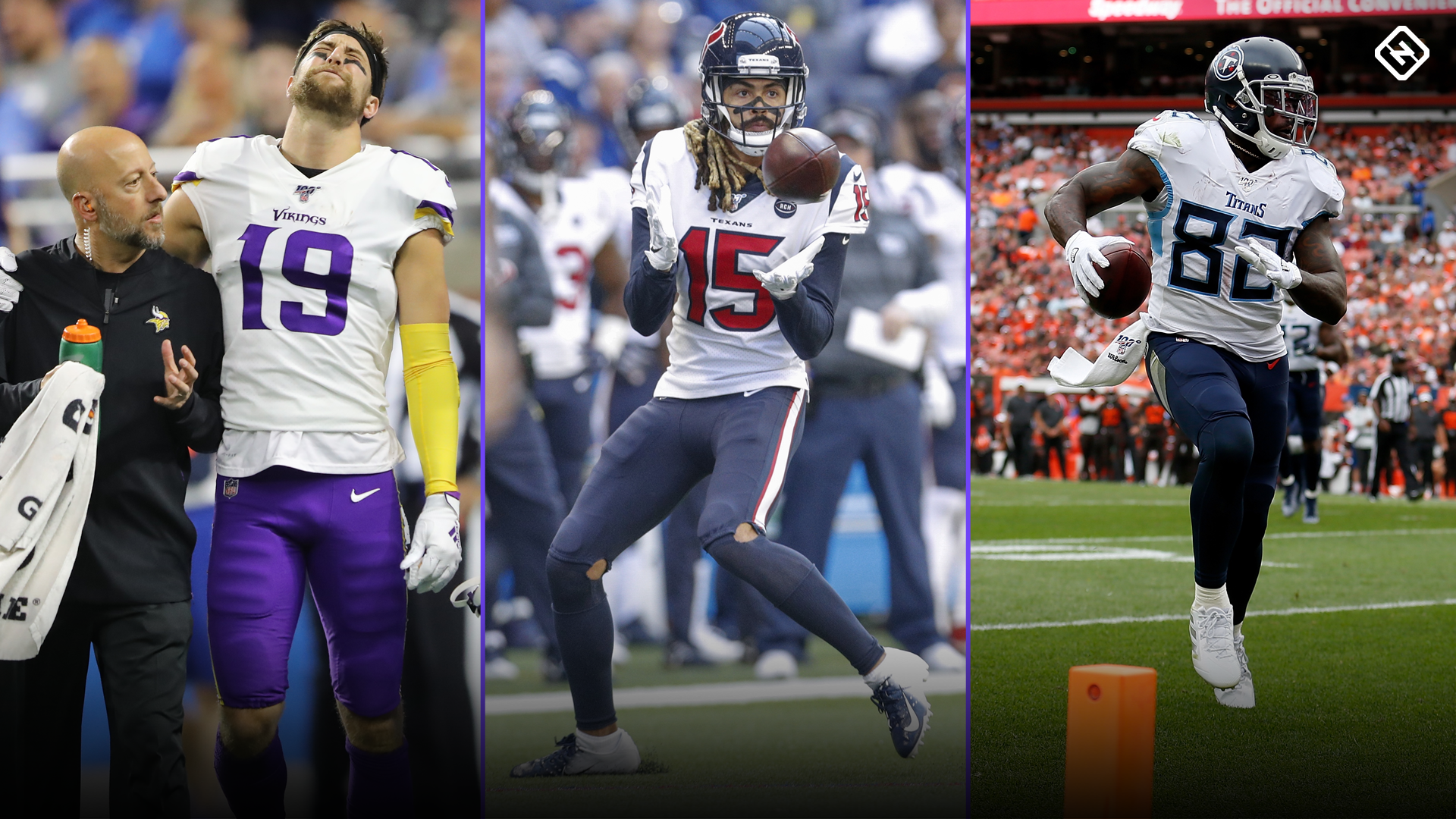 Fantasy Injury Updates: Adam Thielen, Will Fuller V, Delanie Walker impact Week 8 waiver wire pickups/drops