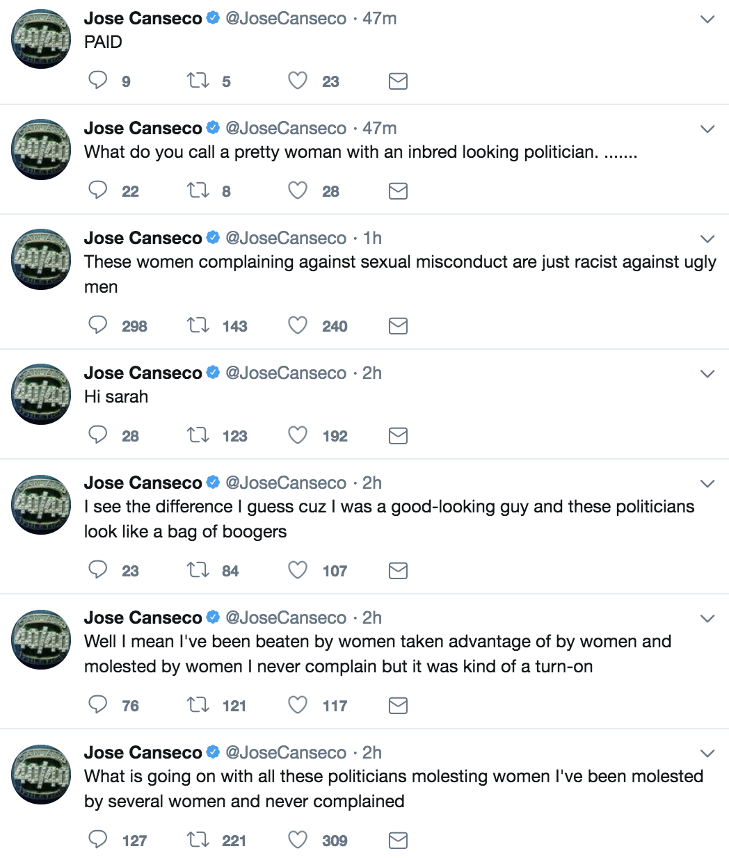 Jose Canseco's tweets could jeopardize job on A's telecasts