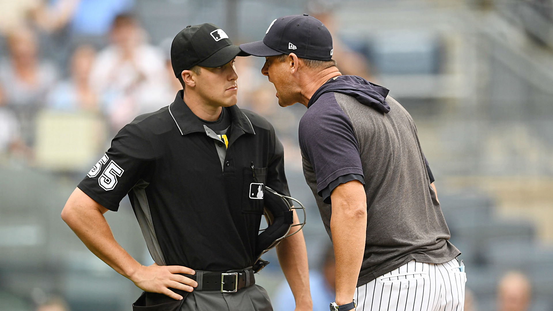 Yankees manager Aaron Boone tells umpire to 'F—ing get better' after being ejected