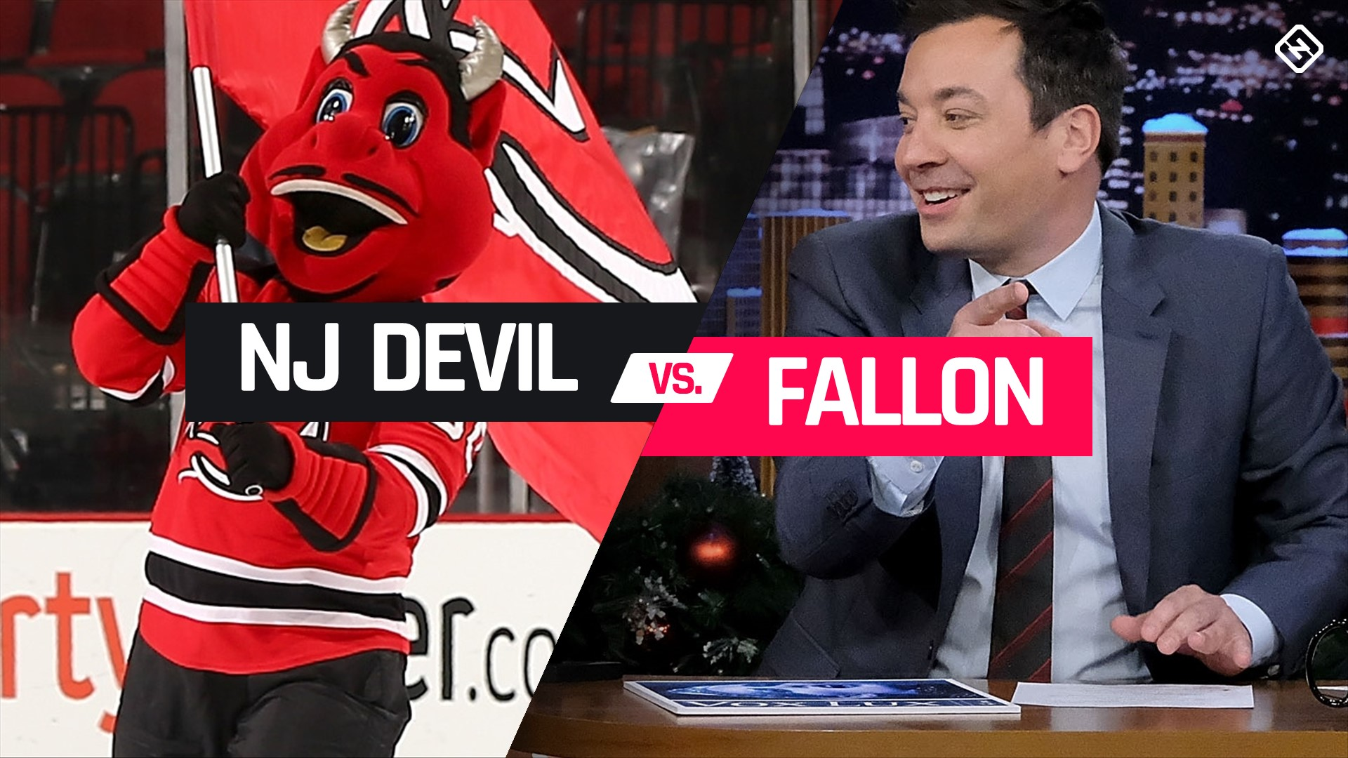 New Jersey Devils mascot, Jimmy Fallon and the bet that ended in a pie-ing