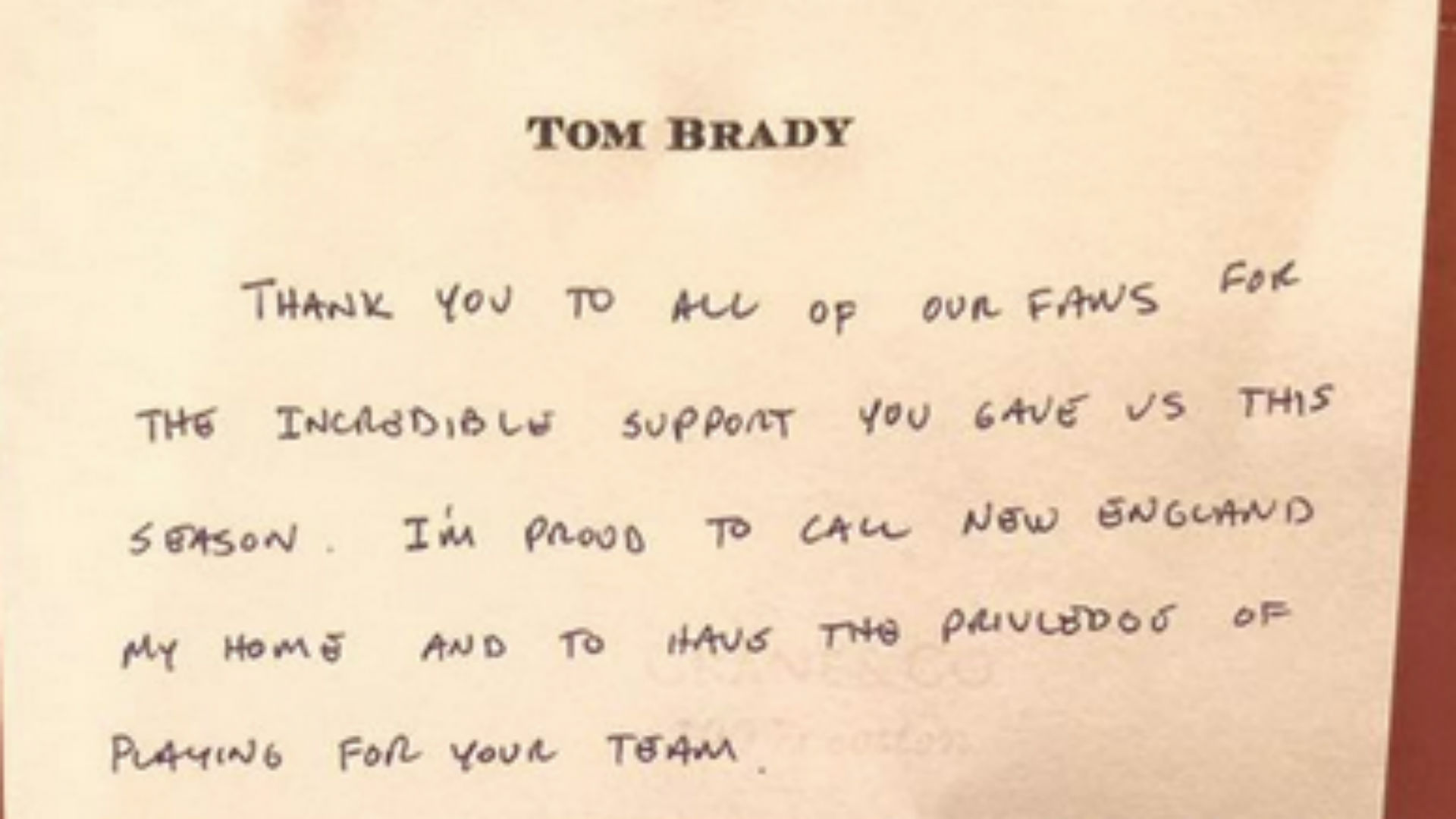 Check out the handwritten letter Tom Brady wrote to Patriots fans