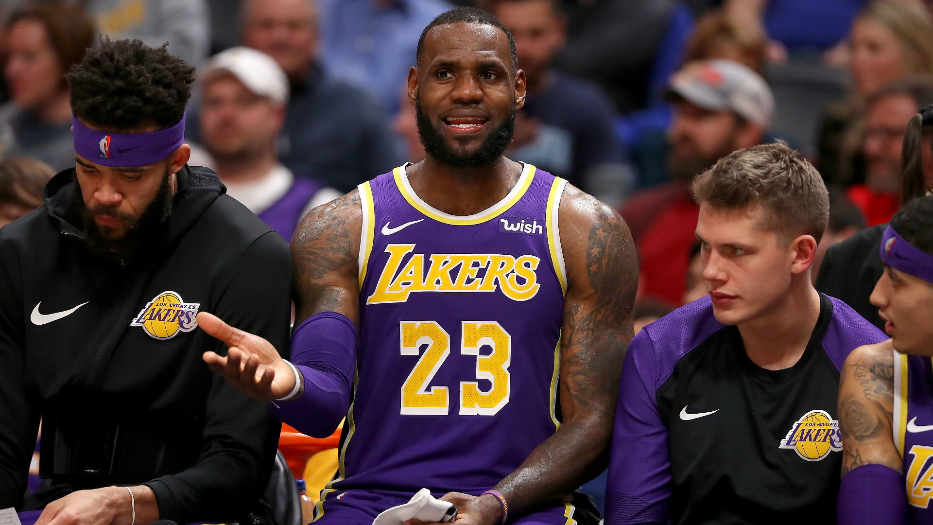 LeBron James was alone on the Lakers' bench and NBA fans had plenty of jokes